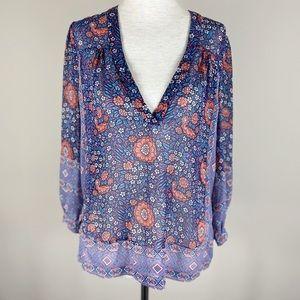 Joie Boho Floral Silk Blouse